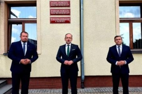 Minister Zdrowia Adam Niedzielski w Starostwie Powiatowym w Raciborzu.